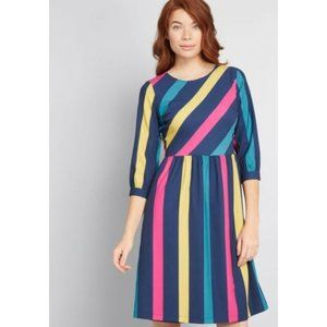 Fever London Cassidy Dress Stripped Navy Pink 8 US